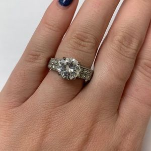 Silver Plated Engagement Style Ring - Size 8